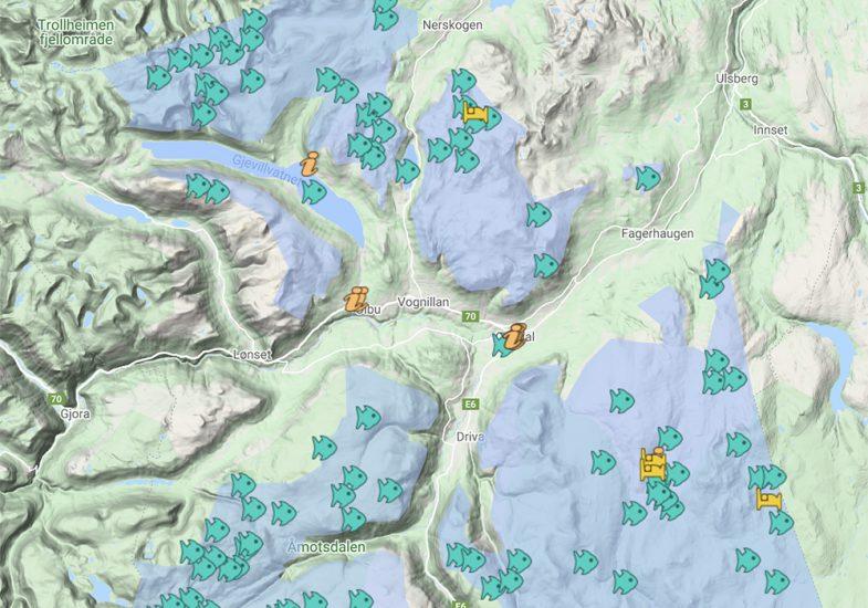 Kart over fiskevatn i Oppdal finner du hos Oppdal Bygdealmenning.