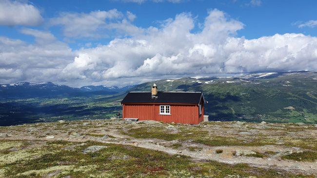 Rød hytte.